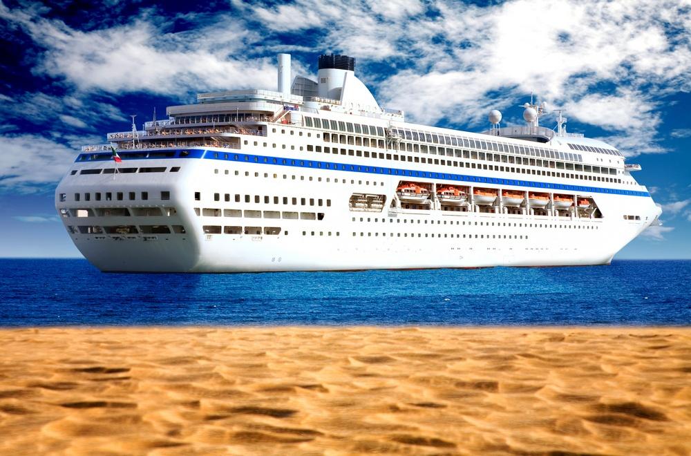 big cruise liner near the beach