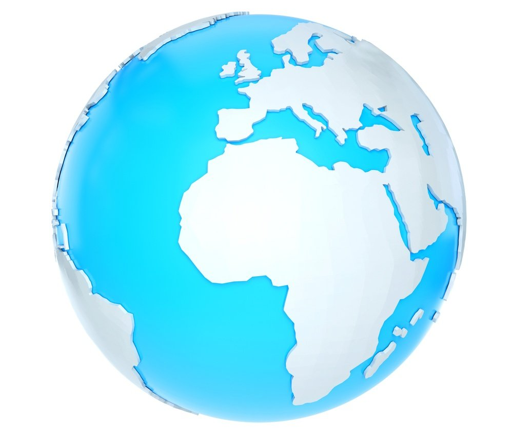 3D world map - isolated over a white background