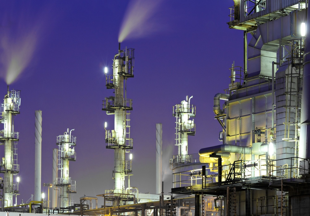 Oil refinery plant at night